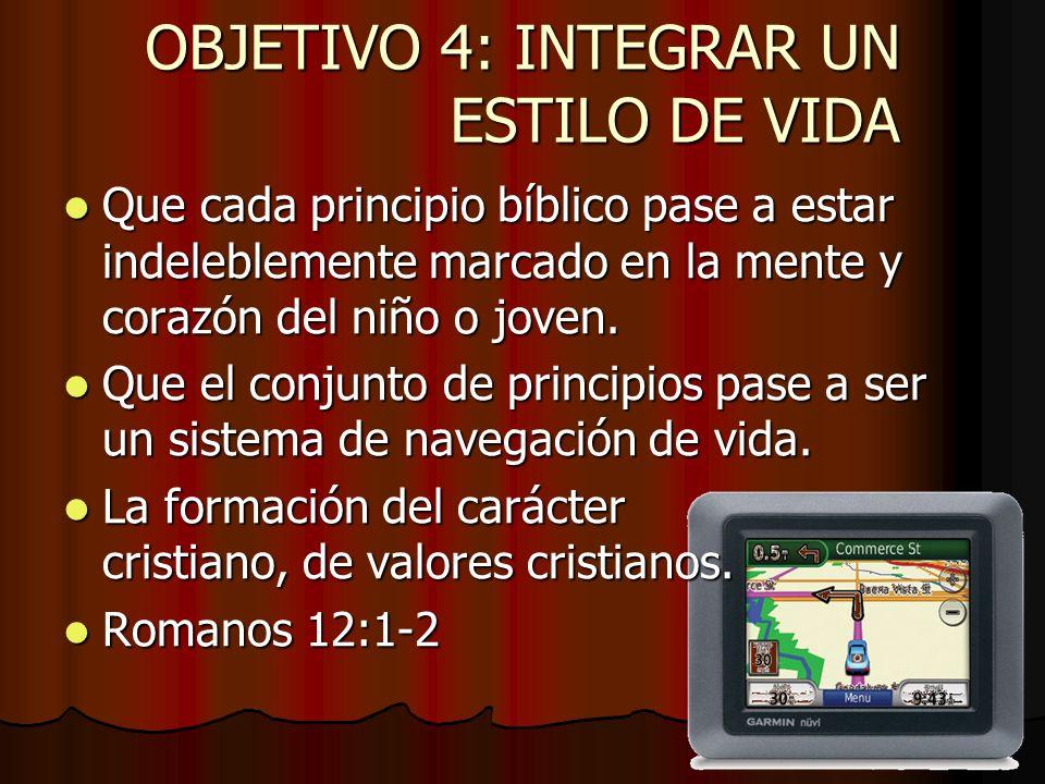OBJETIVO 4: INTEGRAR UN ESTILO DE VIDA Que cada principio bíblico pase a estar indeleblemente marcado en la mente y corazón del niño o joven. Que cada