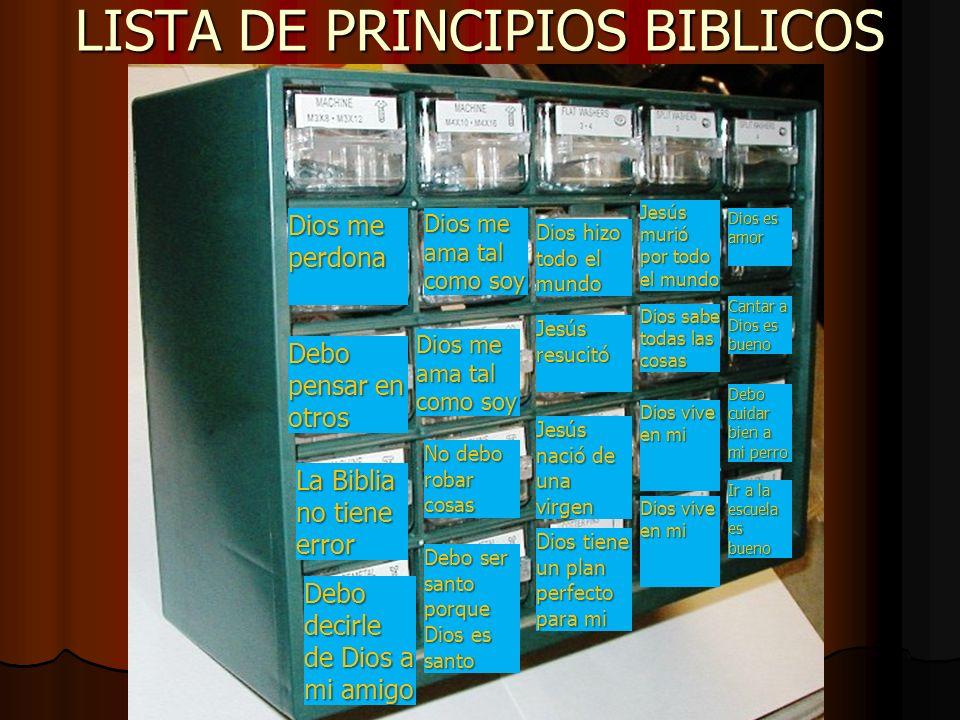 LISTA DE PRINCIPIOS BIBLICOS Mentir está mal Debo obedecer a mamá Dios está en todo lugar Dios me ama tal como soy Dios me perdona Dios hizo todo el m