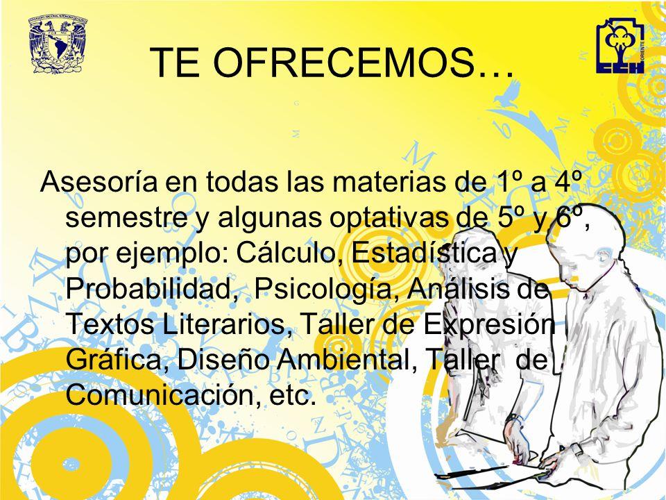 TE OFRECEMOS… Asesoría en todas las materias de 1º a 4º semestre y algunas optativas de 5º y 6º, por ejemplo: Cálculo, Estadística y Probabilidad, Psicología, Análisis de Textos Literarios, Taller de Expresión Gráfica, Diseño Ambiental, Taller de Comunicación, etc.