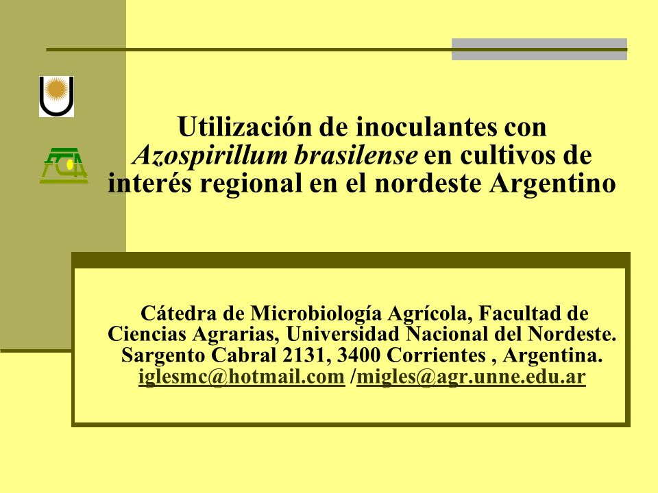 Utilización de inoculantes con Azospirillum brasilense en cultivos de interés regional en el nordeste Argentino Cátedra de Microbiología Agrícola, Fac