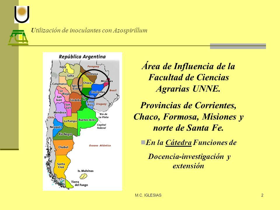 Utilización de inoculantes con Azospirillum M.C. IGLESIAS2 Área de Influencia de la Facultad de Ciencias Agrarias UNNE. Provincias de Corrientes, Chac