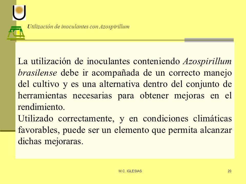 Utilización de inoculantes con Azospirillum M.C. IGLESIAS20 La utilización de inoculantes conteniendo Azospirillum brasilense debe ir acompañada de un