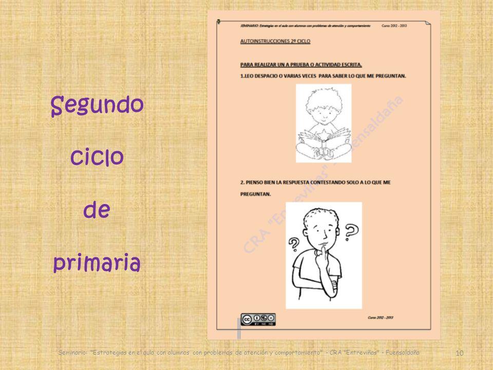 10 Seminario: Estrategias en el aula con alumnos con problemas de atención y comportamiento - CRA Entreviñas - Fuensaldaña Segundo ciclo de primaria