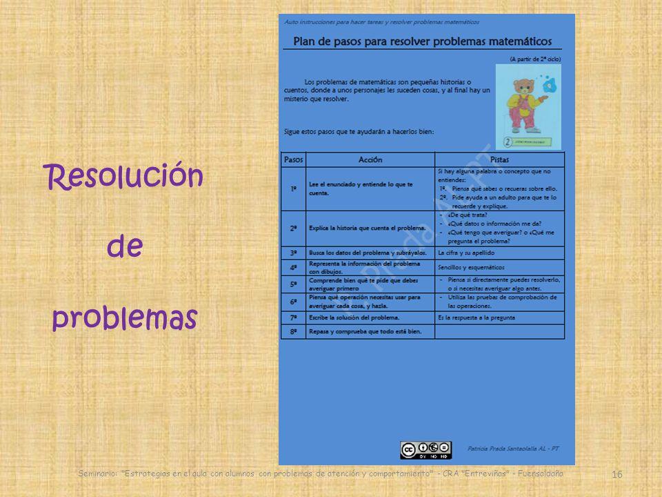 16 Seminario: Estrategias en el aula con alumnos con problemas de atención y comportamiento - CRA Entreviñas - Fuensaldaña Resolución de problemas