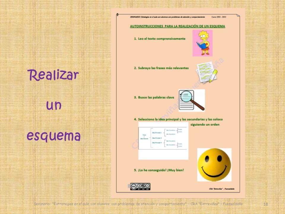 18 Seminario: Estrategias en el aula con alumnos con problemas de atención y comportamiento - CRA Entreviñas - Fuensaldaña Realizar un esquema