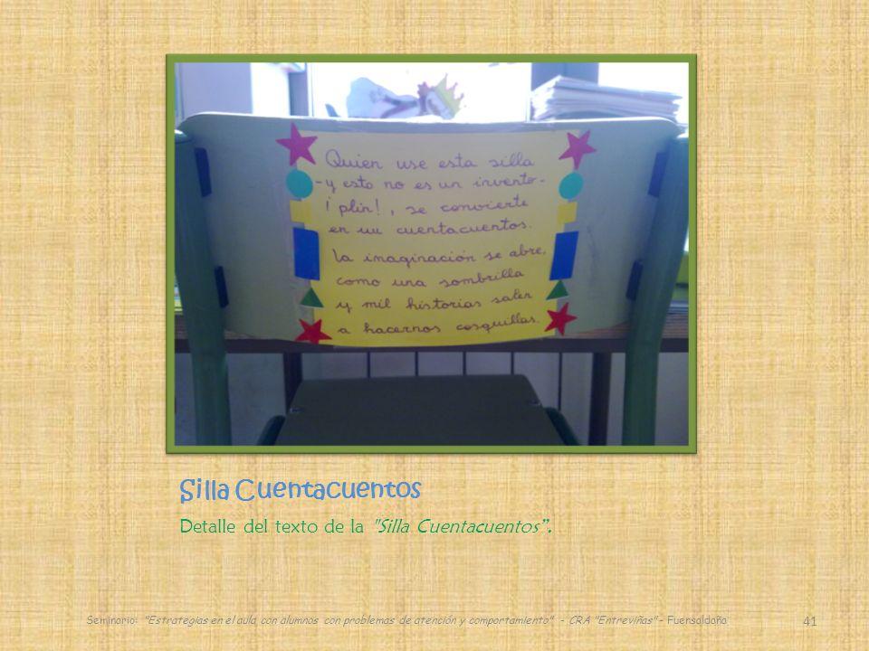 Silla Cuentacuentos Detalle del texto de la Silla Cuentacuentos.