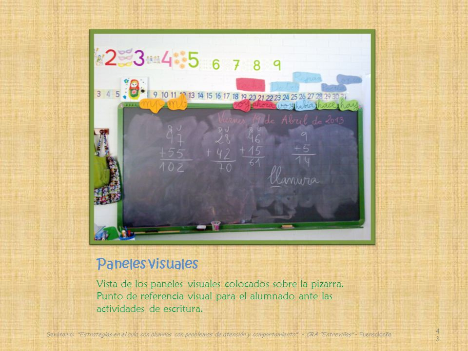 Paneles visuales Vista de los paneles visuales colocados sobre la pizarra.