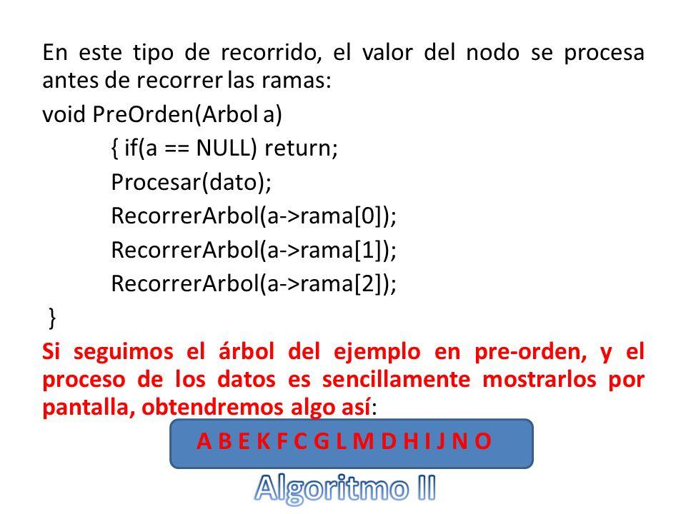 En este tipo de recorrido, el valor del nodo se procesa antes de recorrer las ramas: void PreOrden(Arbol a) { if(a == NULL) return; Procesar(dato); Re