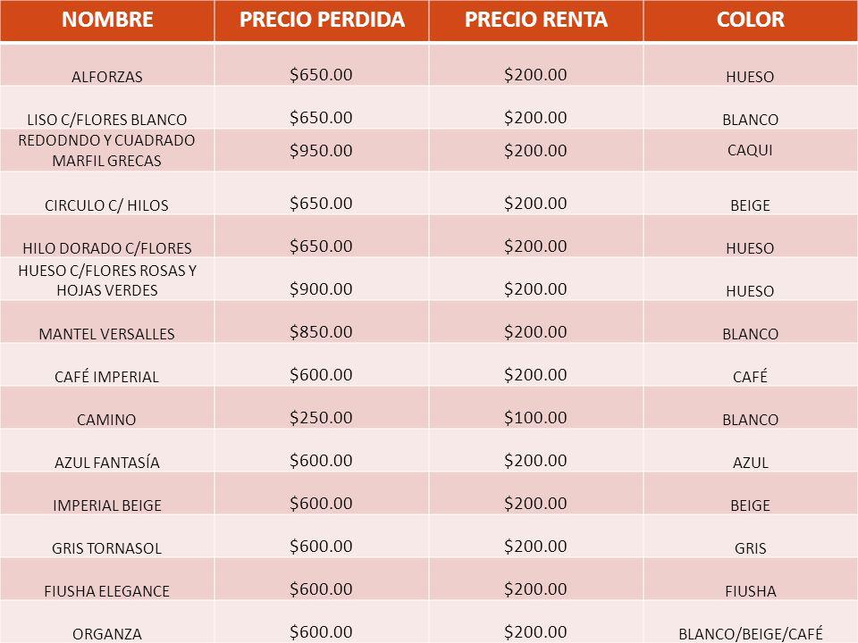 NOMBREPRECIO PERDIDAPRECIO RENTACOLOR ALFORZAS $650.00$200.00 HUESO LISO C/FLORES BLANCO $650.00$200.00 BLANCO REDODNDO Y CUADRADO MARFIL GRECAS $950.00$200.00 CAQUI CIRCULO C/ HILOS $650.00$200.00 BEIGE HILO DORADO C/FLORES $650.00$200.00 HUESO HUESO C/FLORES ROSAS Y HOJAS VERDES $900.00$200.00 HUESO MANTEL VERSALLES $850.00$200.00 BLANCO CAFÉ IMPERIAL $600.00$200.00 CAFÉ CAMINO $250.00$100.00 BLANCO AZUL FANTASÍA $600.00$200.00 AZUL IMPERIAL BEIGE $600.00$200.00 BEIGE GRIS TORNASOL $600.00$200.00 GRIS FIUSHA ELEGANCE $600.00$200.00 FIUSHA ORGANZA $600.00$200.00 BLANCO/BEIGE/CAFÉ