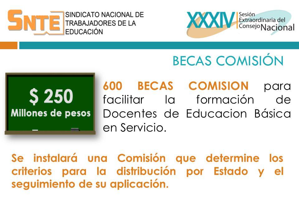 BECAS COMISIÓN 600 BECAS COMISION para facilitar la formación de Docentes de Educacion Básica en Servicio.