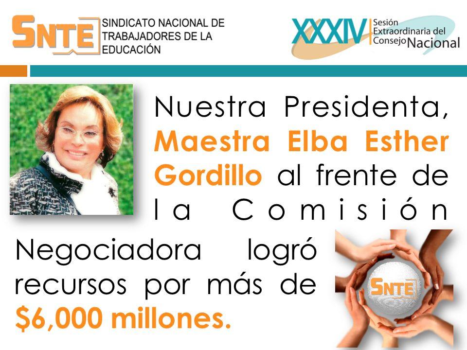 Nuestra Presidenta, Maestra Elba Esther Gordillo al frente de la Comisión Negociadora logró recursos por más de $6,000 millones.