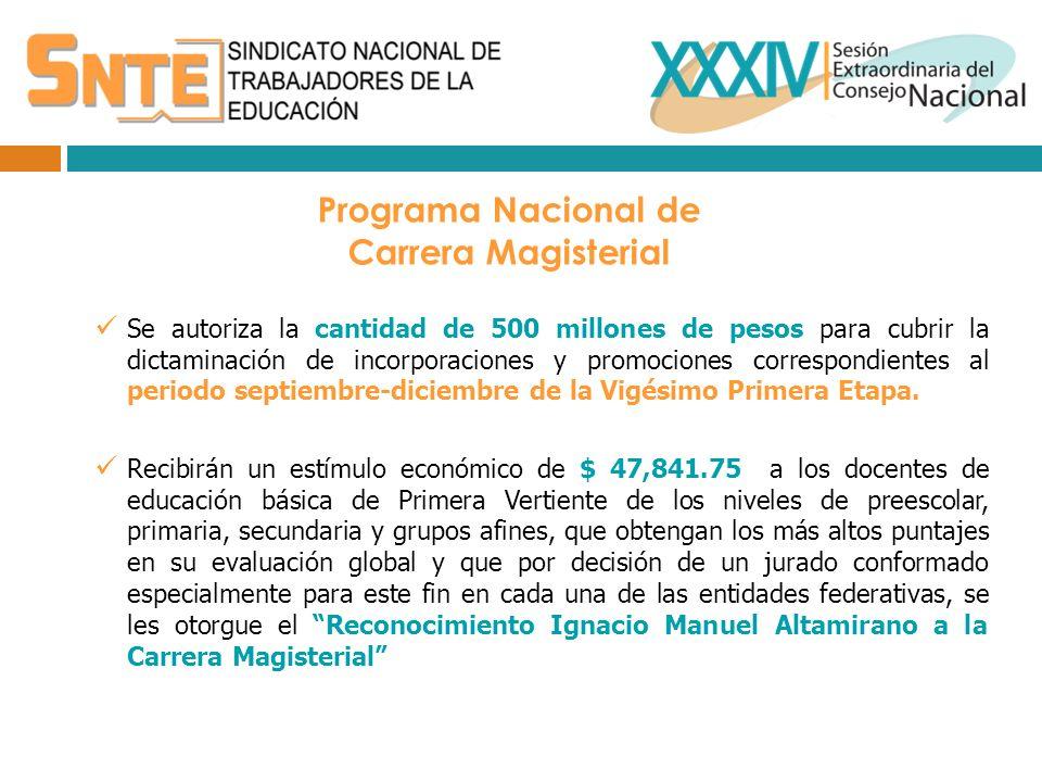 Programa Nacional de Carrera Magisterial Se autoriza la cantidad de 500 millones de pesos para cubrir la dictaminación de incorporaciones y promociones correspondientes al periodo septiembre-diciembre de la Vigésimo Primera Etapa.