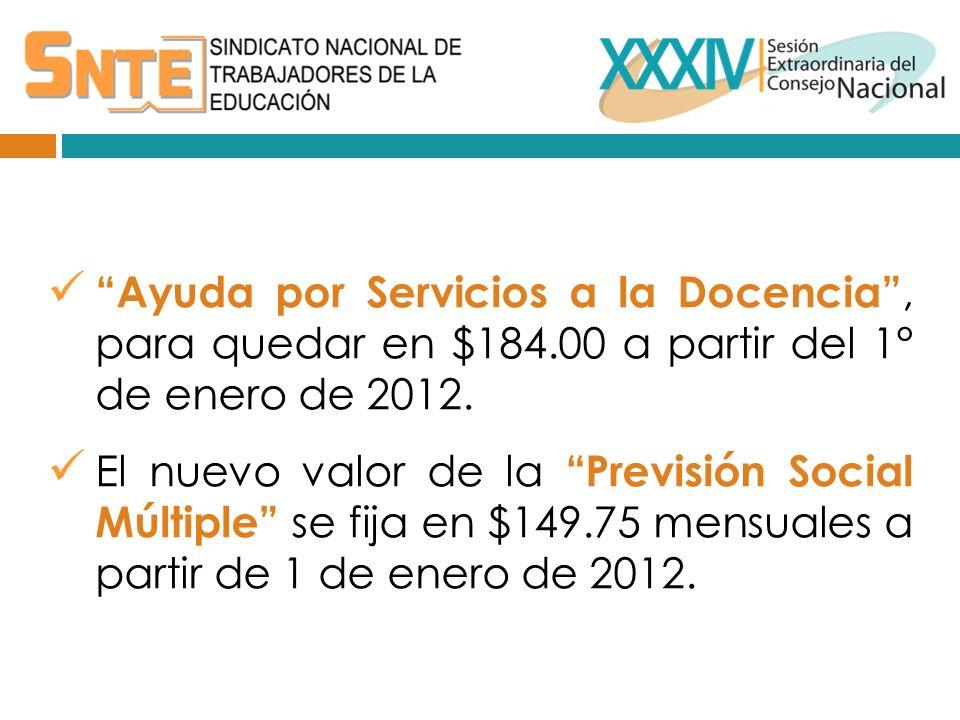 Ayuda por Servicios a la Docencia, para quedar en $184.00 a partir del 1° de enero de 2012.