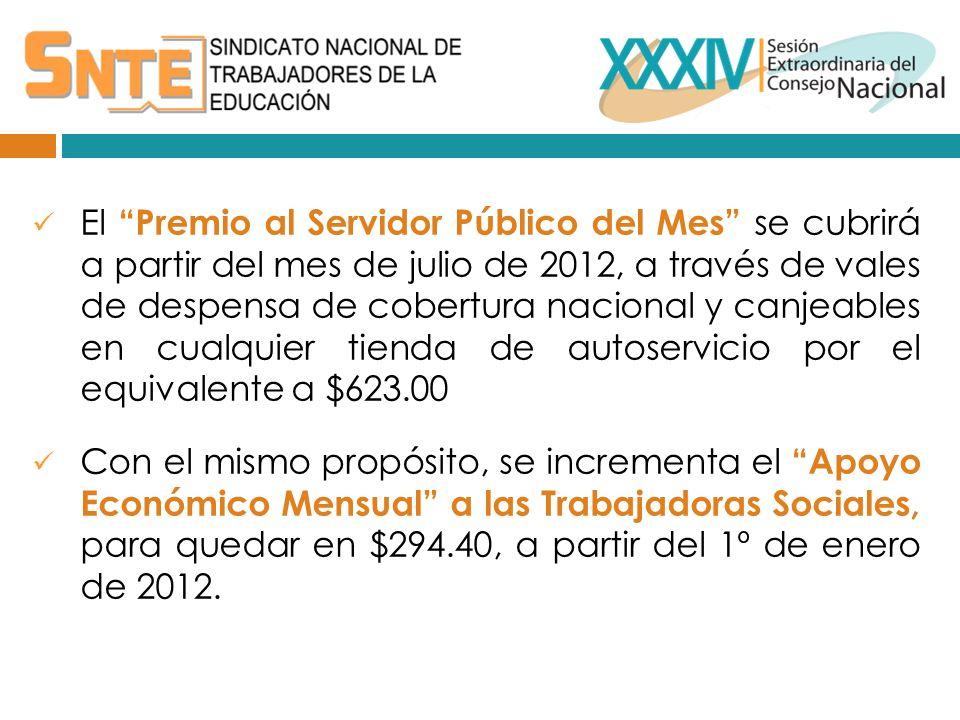 El Premio al Servidor Público del Mes se cubrirá a partir del mes de julio de 2012, a través de vales de despensa de cobertura nacional y canjeables en cualquier tienda de autoservicio por el equivalente a $623.00 Con el mismo propósito, se incrementa el Apoyo Económico Mensual a las Trabajadoras Sociales, para quedar en $294.40, a partir del 1º de enero de 2012.