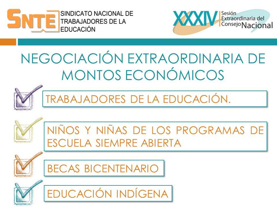 NEGOCIACIÓN EXTRAORDINARIA DE MONTOS ECONÓMICOS TRABAJADORES DE LA EDUCACIÓN.
