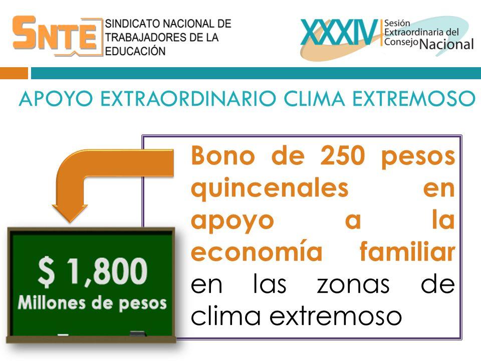 APOYO EXTRAORDINARIO CLIMA EXTREMOSO Bono de 250 pesos quincenales en apoyo a la economía familiar en las zonas de clima extremoso