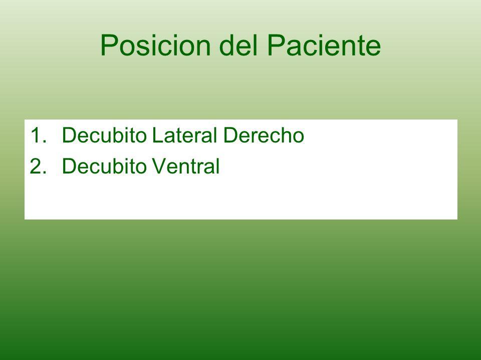 Posicion del Paciente 1.Decubito Lateral Derecho 2.Decubito Ventral