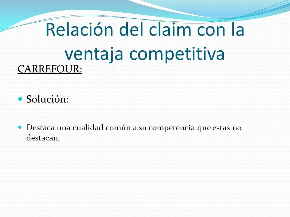 Relación del claim con la ventaja competitiva CARREFOUR: Solución: Destaca una cualidad común a su competencia que estas no destacan.