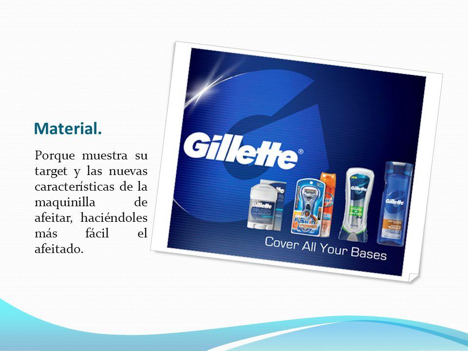 Material. Porque muestra su target y las nuevas características de la maquinilla de afeitar, haciéndoles más fácil el afeitado.
