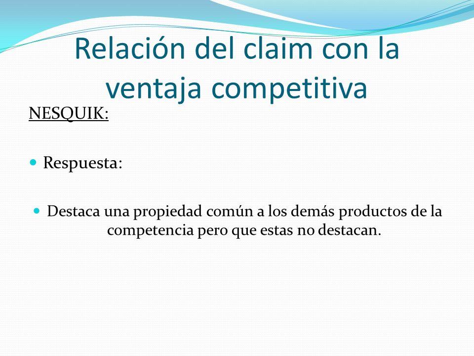 Relación del claim con la ventaja competitiva NESQUIK: Respuesta: Destaca una propiedad común a los demás productos de la competencia pero que estas n