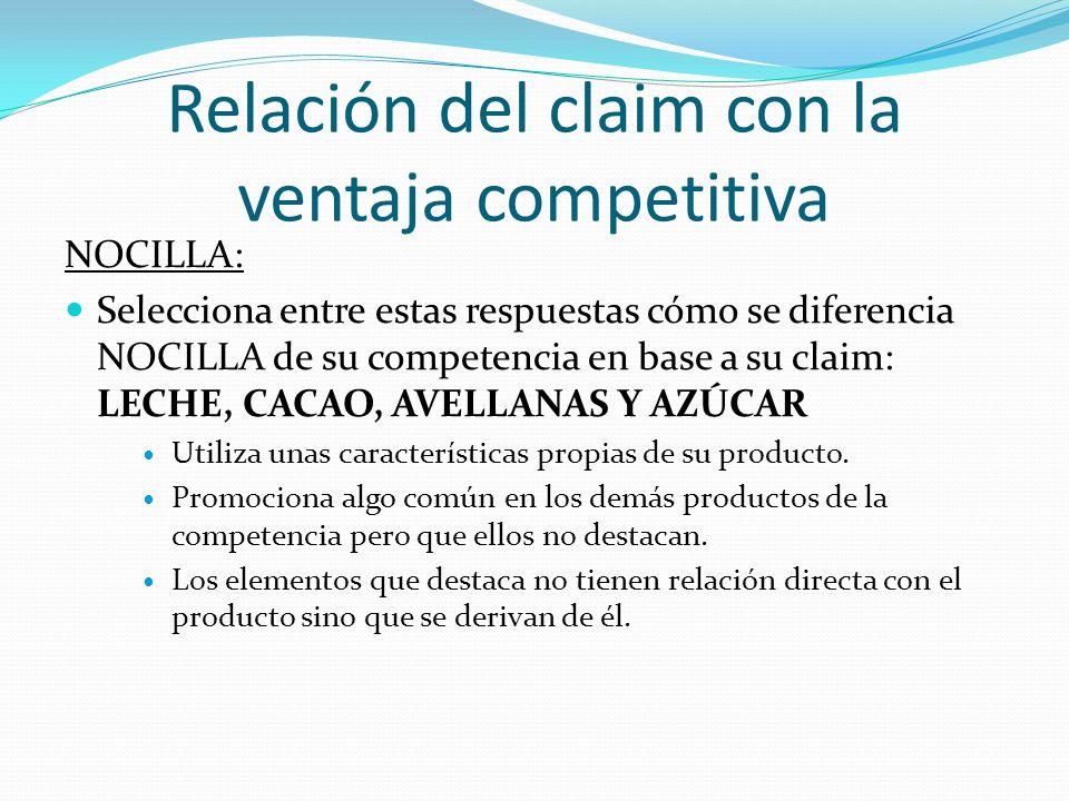 Relación del claim con la ventaja competitiva NOCILLA: Selecciona entre estas respuestas cómo se diferencia NOCILLA de su competencia en base a su cla