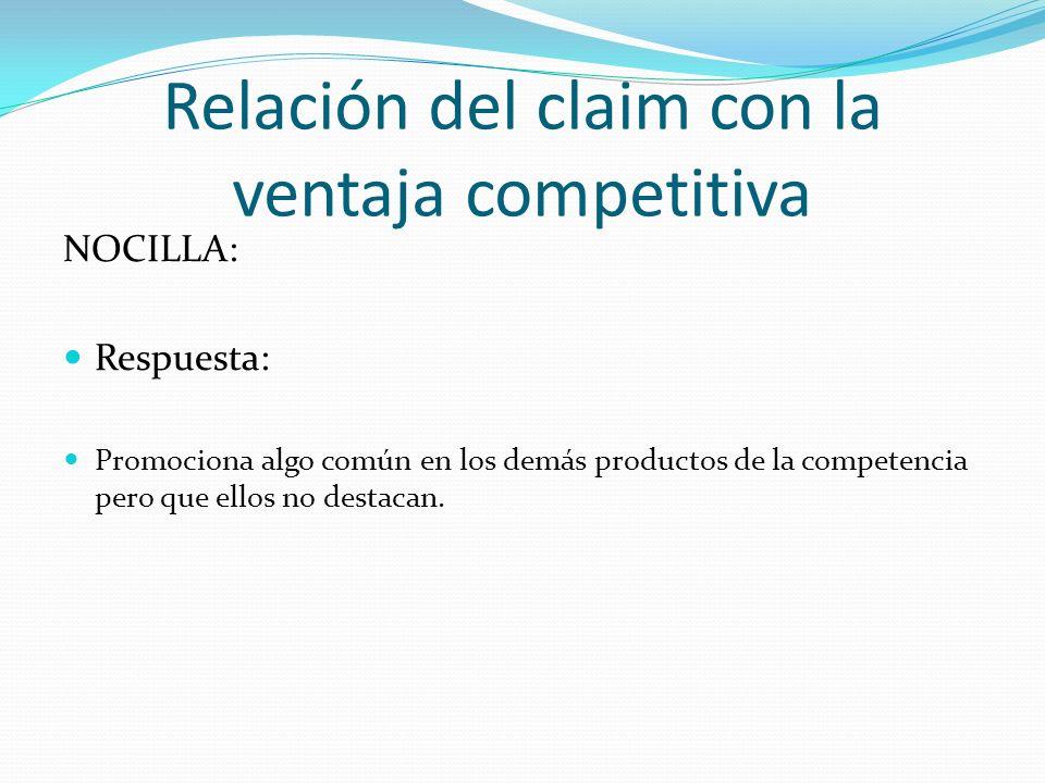 Relación del claim con la ventaja competitiva NOCILLA: Respuesta: Promociona algo común en los demás productos de la competencia pero que ellos no des