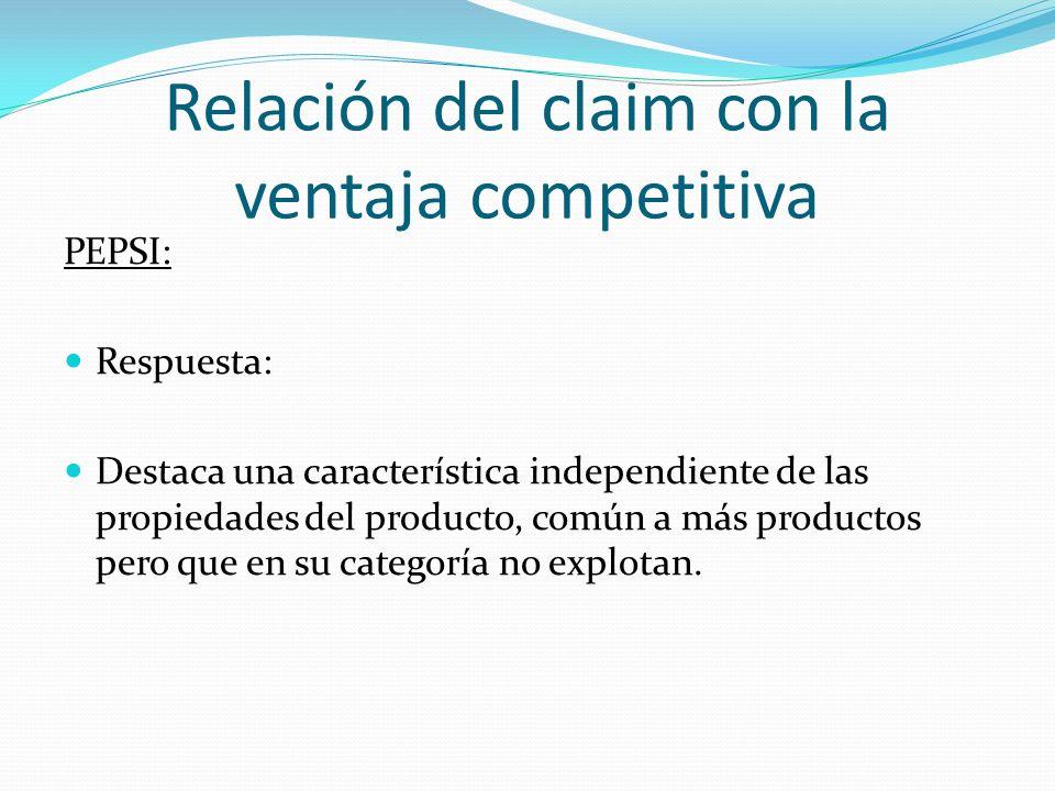Relación del claim con la ventaja competitiva PEPSI: Respuesta: Destaca una característica independiente de las propiedades del producto, común a más