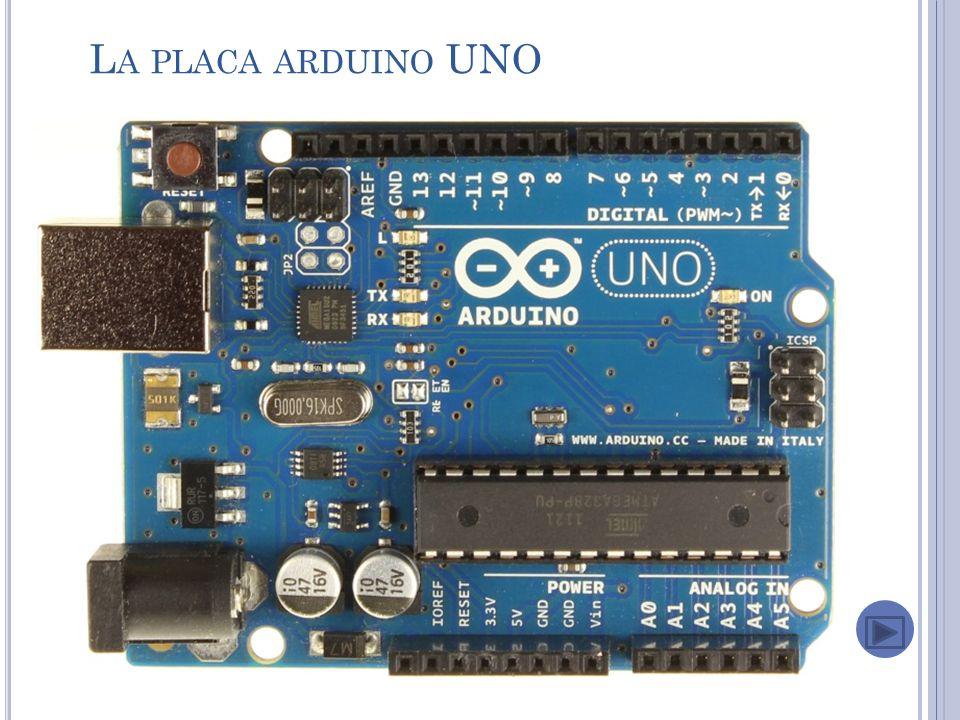 L A PLACA ARDUINO UNO Esta es la placa básica ARDUINO, posee el microcontrolador ATMega en un zócalo para extraerlo facil para actualizar el bootloader,13 E/S digitales (6 son PWM), 6 entradas análogas (pueden ser usadas como E/S digitales), ademas posee pines SDA y SCL para comunicación I2C (inter integrated circuit) y una linea de comunicación serial (RX y TX)