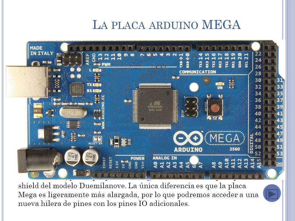 L A PLACA ARDUINO MEGA El Nuevo Arduino Mega 2560 (rev3) viene con más memoria para el programa, más RAM y más pines.