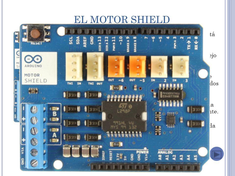 EL MOTOR SHIELD El Arduino Motor Shield está basado en el L298 ( datasheet ), que es un puente H dual para el manejo de cargas inductivas como relevadores, solenoides, motores de DC y motores de pasos.