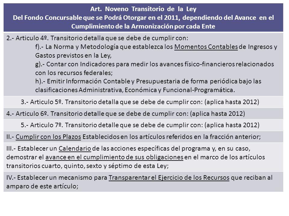 Art. Noveno Transitorio de la Ley Del Fondo Concursable que se Podrá Otorgar en el 2011, dependiendo del Avance en el Cumplimiento de la Armonización