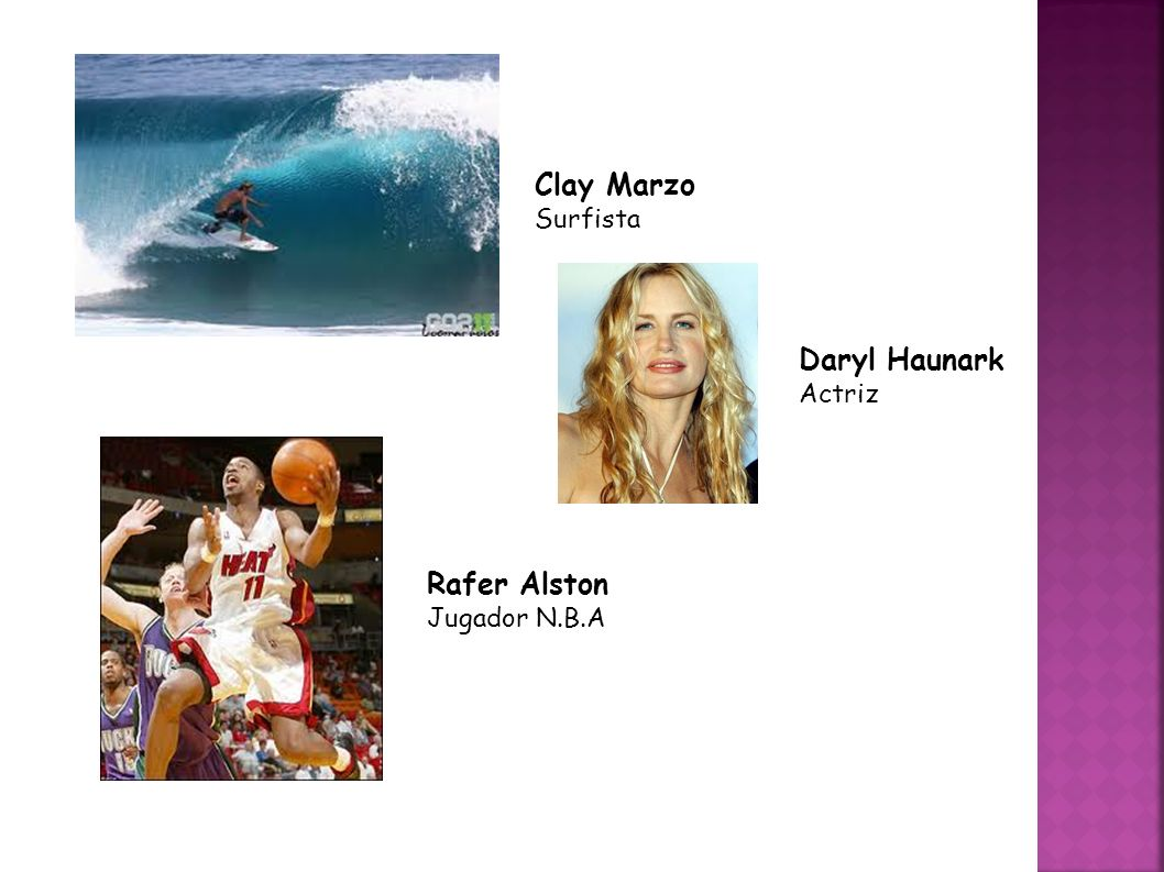 Clay Marzo Surfista Daryl Haunark Actriz Rafer Alston Jugador N.B.A