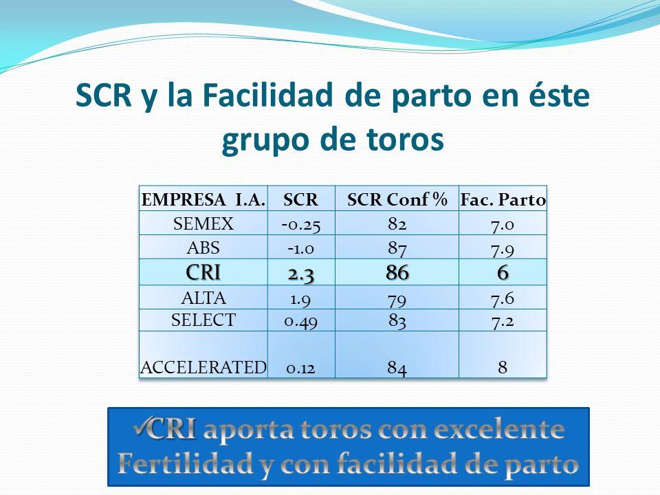 SCR y la Facilidad de parto en éste grupo de toros