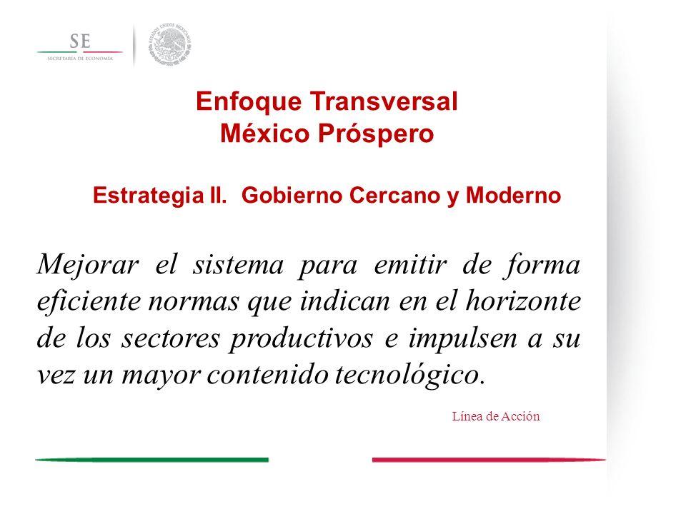 Enfoque Transversal México Próspero Estrategia II. Gobierno Cercano y Moderno Mejorar el sistema para emitir de forma eficiente normas que indican en