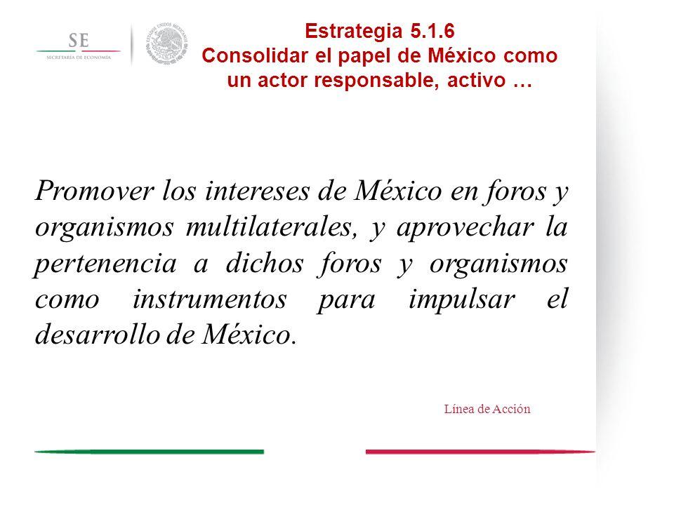 Promover los intereses de México en foros y organismos multilaterales, y aprovechar la pertenencia a dichos foros y organismos como instrumentos para