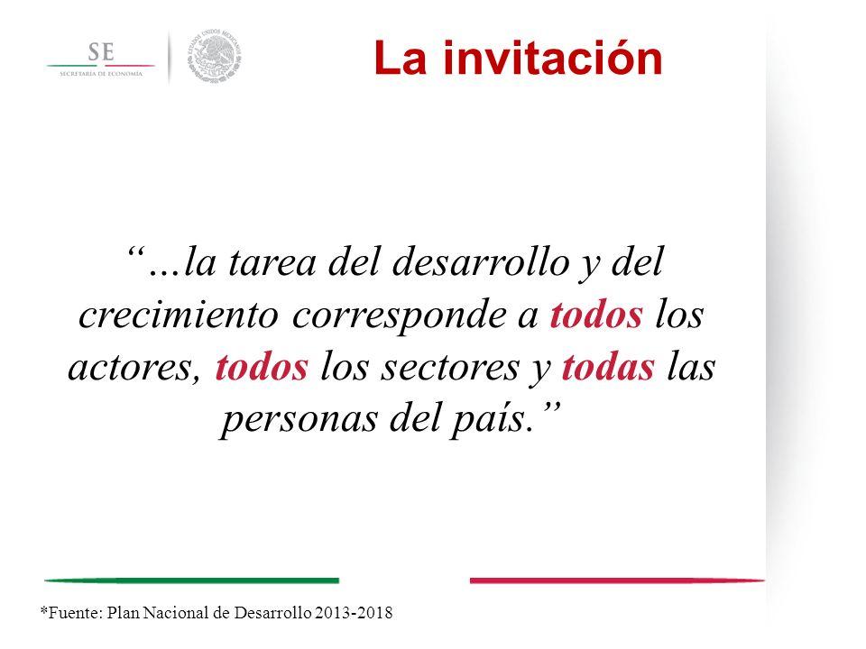 La invitación …la tarea del desarrollo y del crecimiento corresponde a todos los actores, todos los sectores y todas las personas del país. *Fuente: P