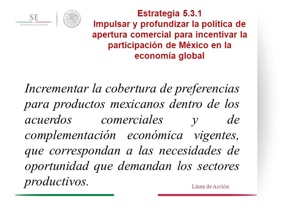 Estrategia 5.3.1 Impulsar y profundizar la política de apertura comercial para incentivar la participación de México en la economía global Incrementar