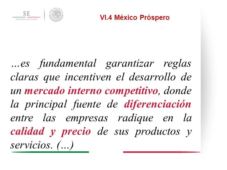 Estrategia 4.7.1 Apuntalar la competencia en el mercado interno Impulsar marcos regulatorios que favorezcan la competencia y la eficiencia de los mercados.