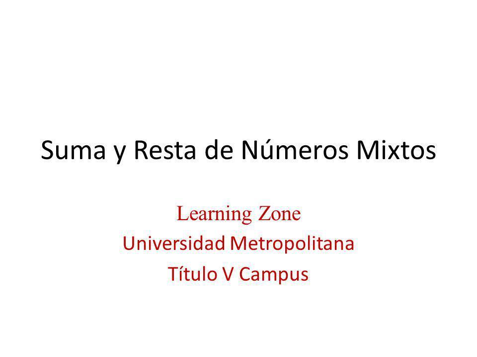 Suma y Resta de Números Mixtos Learning Zone Universidad Metropolitana Título V Campus