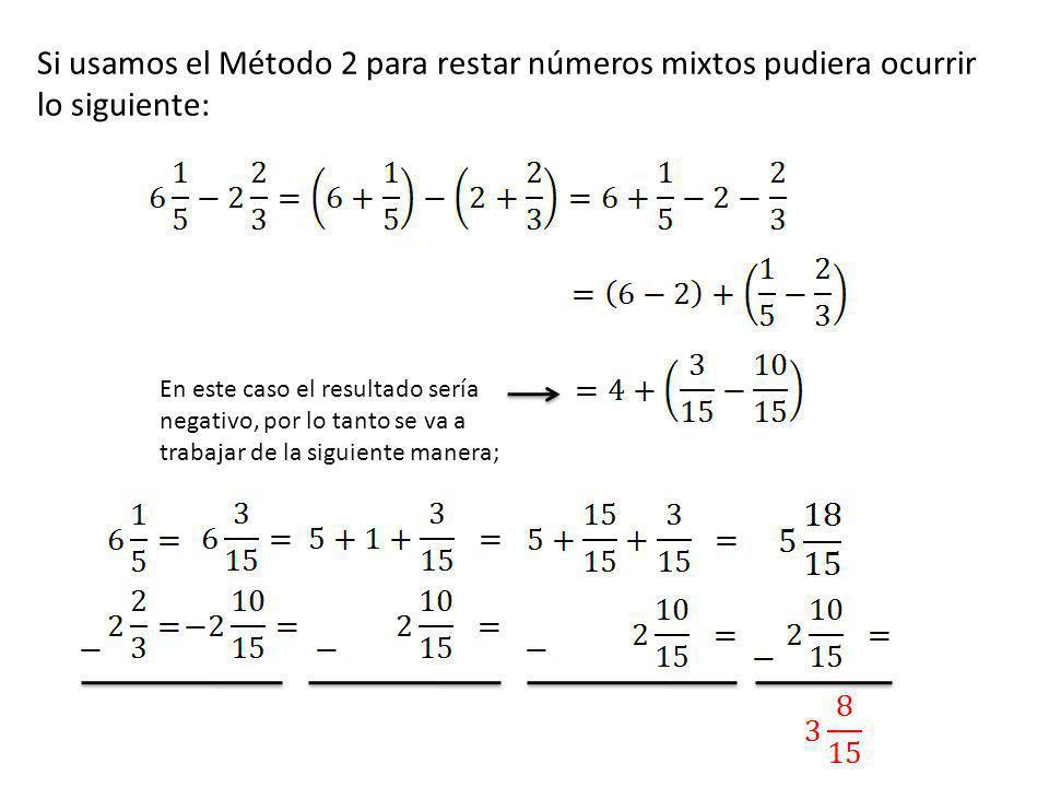 Si usamos el Método 2 para restar números mixtos pudiera ocurrir lo siguiente: En este caso el resultado sería negativo, por lo tanto se va a trabajar