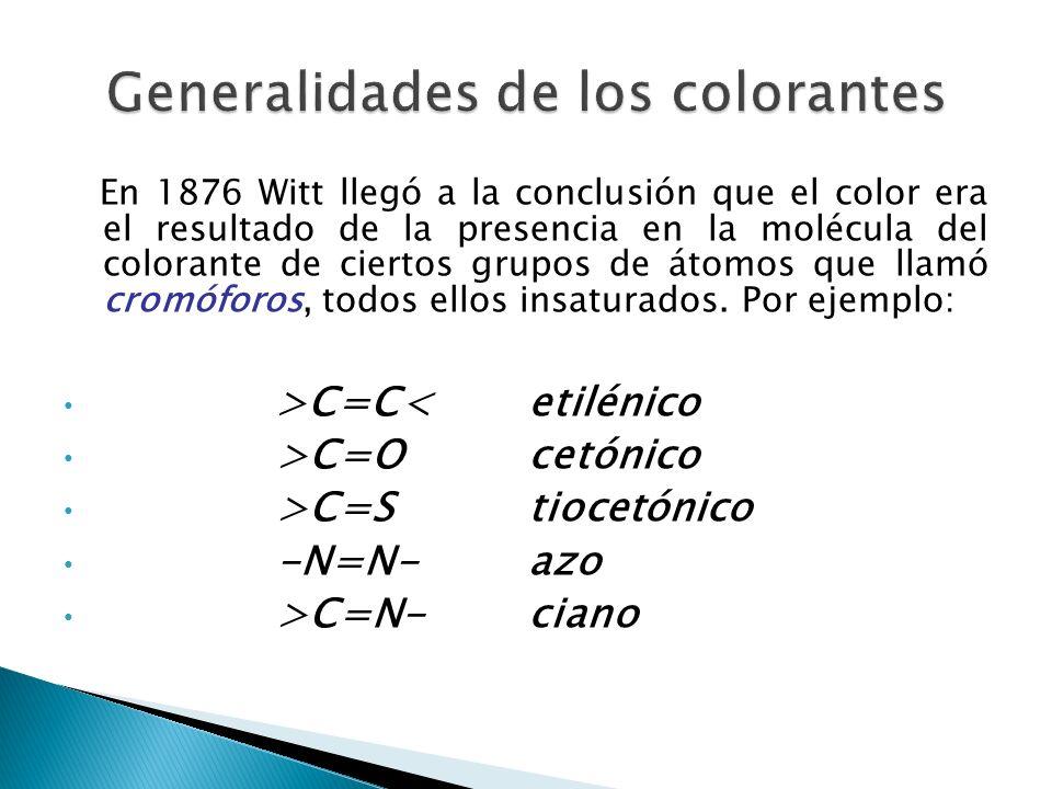 En 1876 Witt llegó a la conclusión que el color era el resultado de la presencia en la molécula del colorante de ciertos grupos de átomos que llamó cr