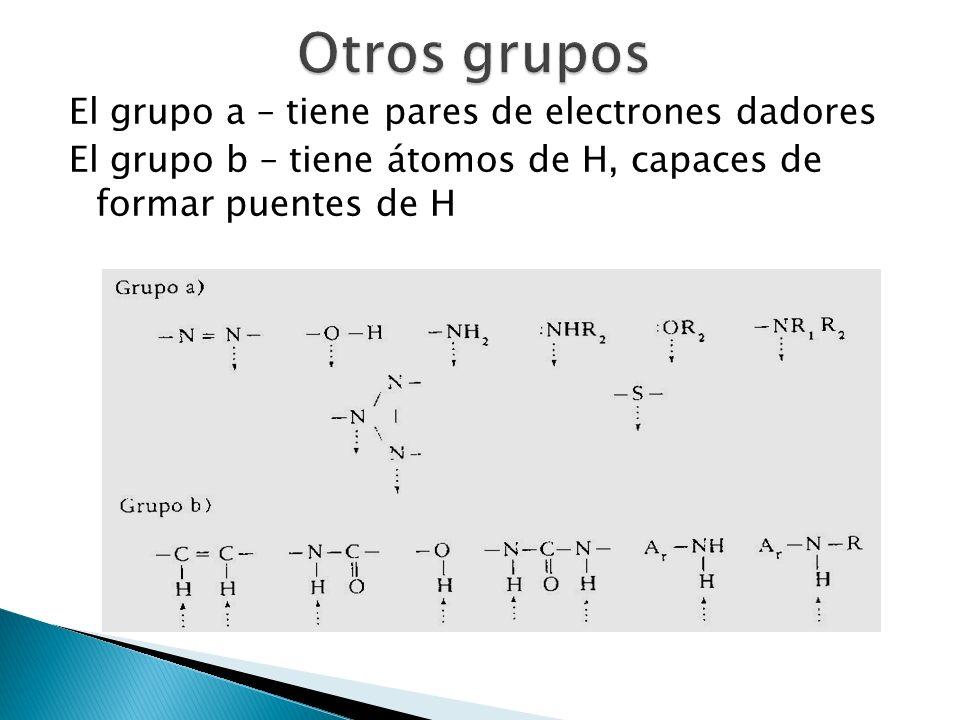 El grupo a – tiene pares de electrones dadores El grupo b – tiene átomos de H, capaces de formar puentes de H