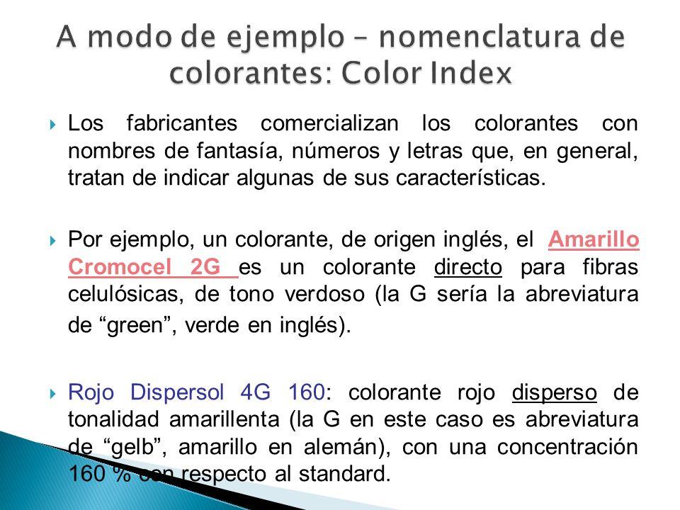 Los fabricantes comercializan los colorantes con nombres de fantasía, números y letras que, en general, tratan de indicar algunas de sus característic