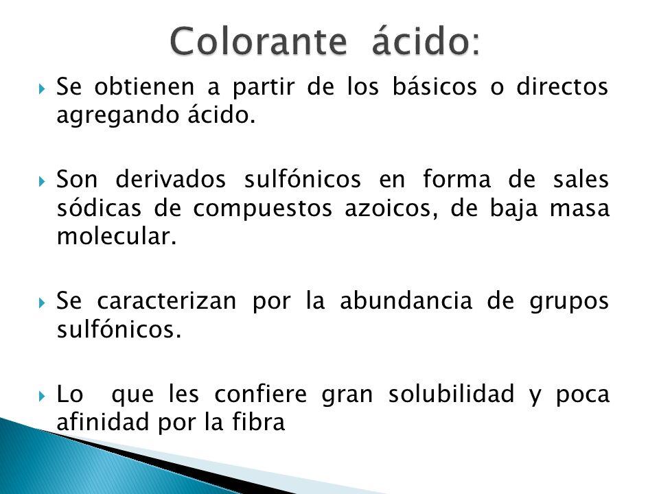 Se obtienen a partir de los básicos o directos agregando ácido. Son derivados sulfónicos en forma de sales sódicas de compuestos azoicos, de baja masa