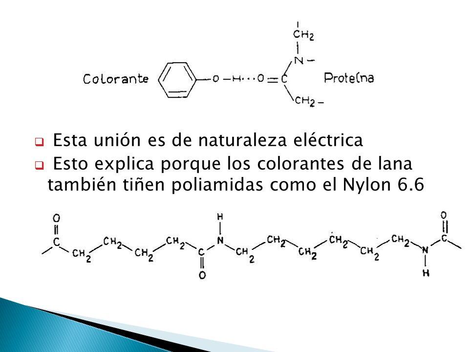 Esta unión es de naturaleza eléctrica Esto explica porque los colorantes de lana también tiñen poliamidas como el Nylon 6.6