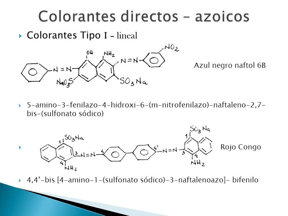 Colorantes Tipo I – lineal Azul negro naftol 6B 5-amino-3-fenilazo-4-hidroxi-6-(m-nitrofenilazo)-naftaleno-2,7- bis-(sulfonato sódico) Rojo Congo 4,4-