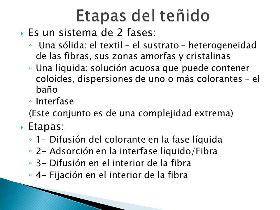 Es un sistema de 2 fases: Una sólida: el textil – el sustrato – heterogeneidad de las fibras, sus zonas amorfas y cristalinas Una líquida: solución ac