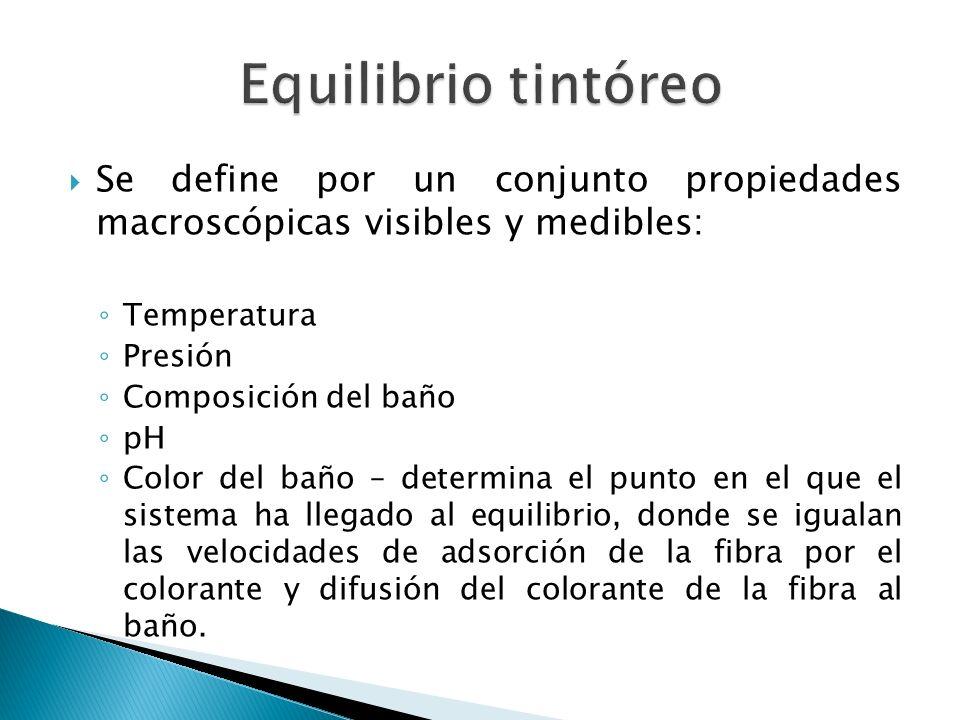 Se define por un conjunto propiedades macroscópicas visibles y medibles: Temperatura Presión Composición del baño pH Color del baño – determina el pun