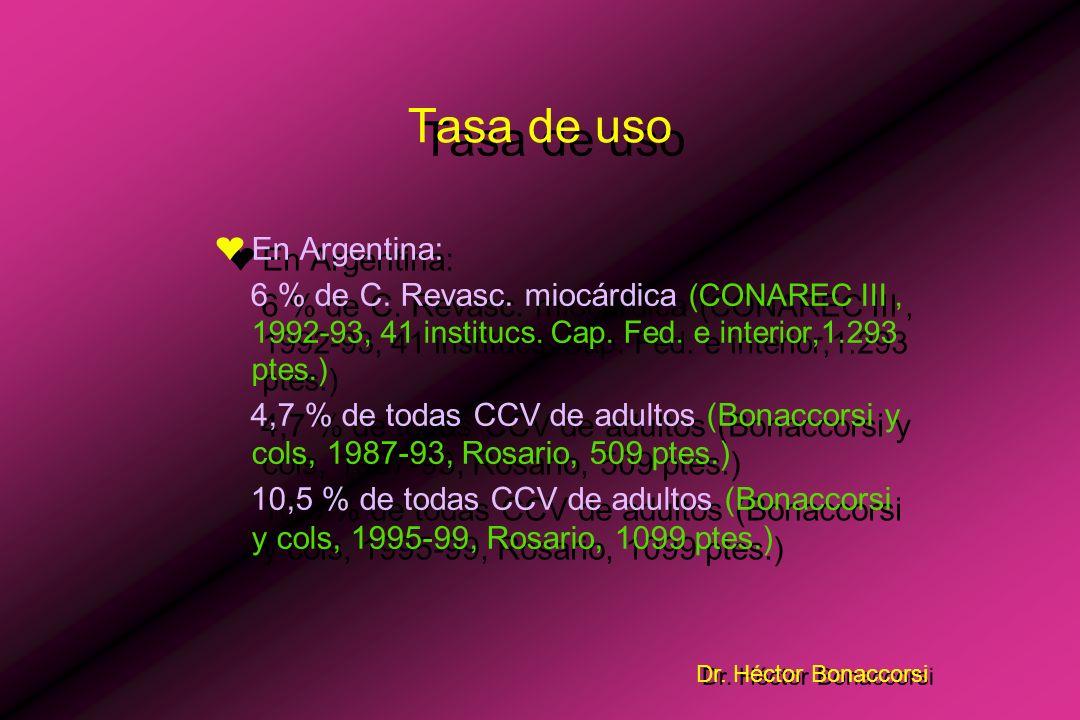 Dr. Héctor Bonaccorsi Contrapulsación Aórtica Tasa de uso ¤En los paises desarrollados: Década del 90: 13 % de todas las CCV de adultos. –Creswell y c