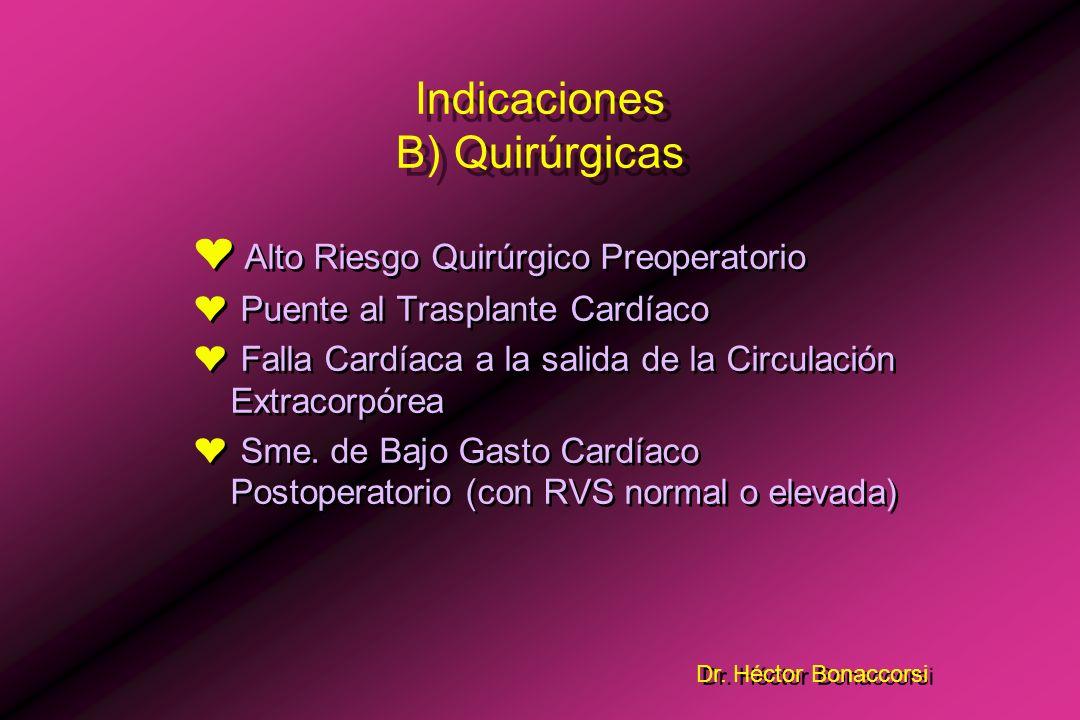 Dr.Héctor Bonaccorsi Indicaciones A) Médicas ¤Angor Inestable refractario a trat.